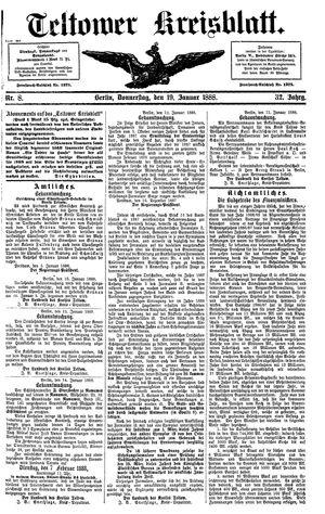 Teltower Kreisblatt vom 19.01.1888