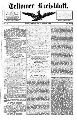 Teltower Kreisblatt vom 07.02.1888