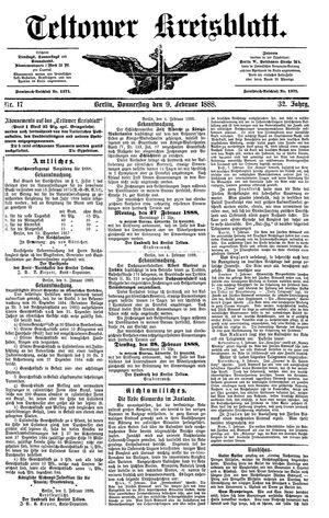 Teltower Kreisblatt vom 09.02.1888