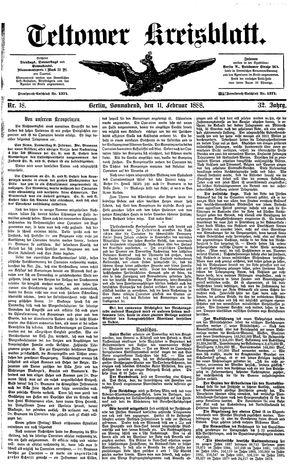 Teltower Kreisblatt vom 11.02.1888