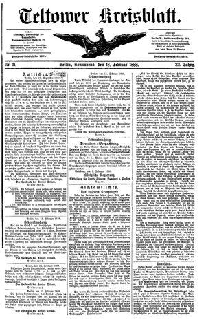 Teltower Kreisblatt on Feb 18, 1888