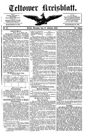 Teltower Kreisblatt vom 21.02.1888