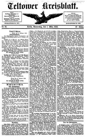 Teltower Kreisblatt vom 01.03.1888
