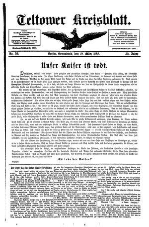 Teltower Kreisblatt vom 10.03.1888