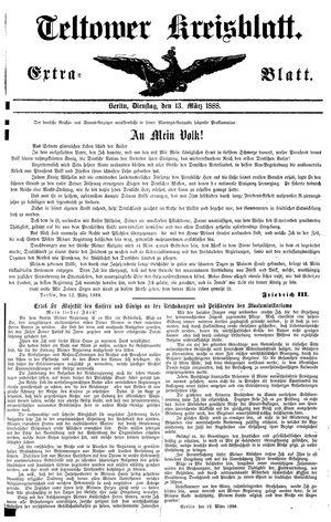 Teltower Kreisblatt vom 13.03.1888