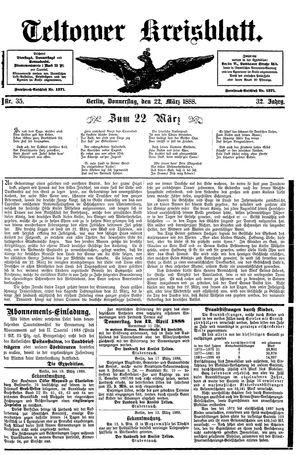 Teltower Kreisblatt vom 22.03.1888