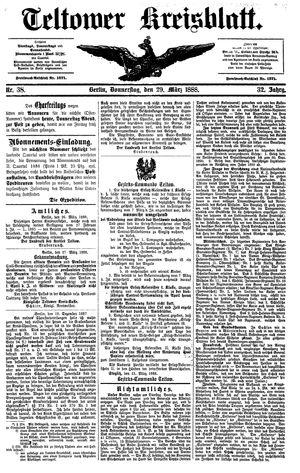 Teltower Kreisblatt vom 29.03.1888