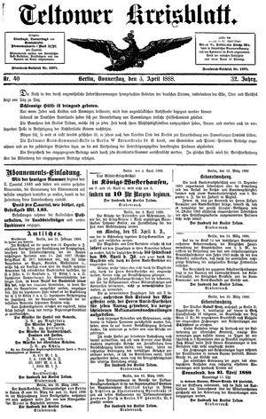 Teltower Kreisblatt vom 05.04.1888