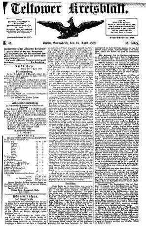 Teltower Kreisblatt vom 14.04.1888