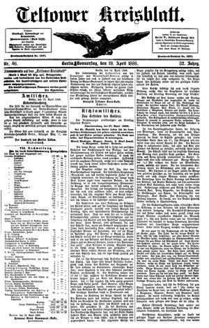 Teltower Kreisblatt vom 19.04.1888
