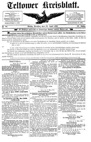 Teltower Kreisblatt vom 24.04.1888