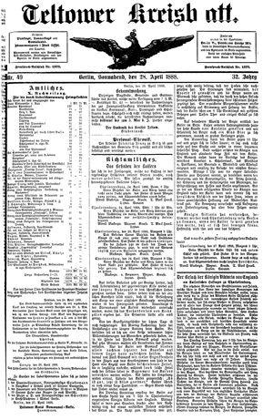 Teltower Kreisblatt vom 28.04.1888