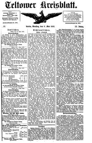 Teltower Kreisblatt vom 08.05.1888
