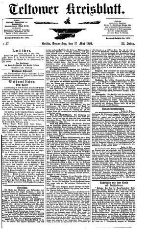 Teltower Kreisblatt vom 17.05.1888