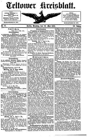 Teltower Kreisblatt vom 29.05.1888
