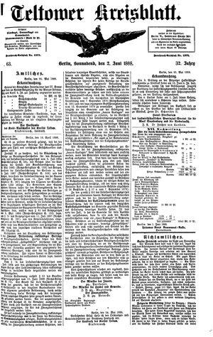 Teltower Kreisblatt vom 02.06.1888