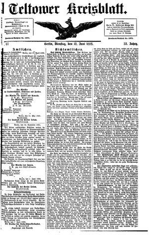 Teltower Kreisblatt vom 12.06.1888