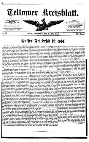 Teltower Kreisblatt vom 16.06.1888