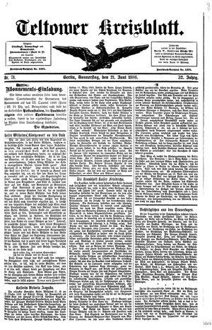 Teltower Kreisblatt vom 21.06.1888