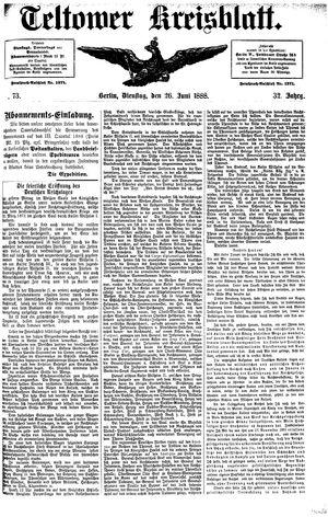 Teltower Kreisblatt vom 26.06.1888