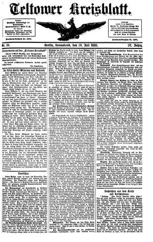 Teltower Kreisblatt vom 14.07.1888