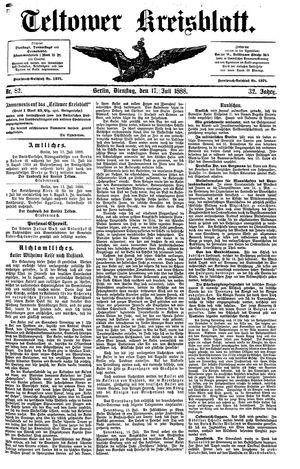 Teltower Kreisblatt vom 17.07.1888