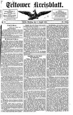 Teltower Kreisblatt vom 07.08.1888