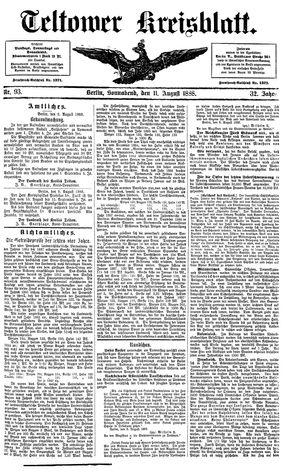 Teltower Kreisblatt vom 11.08.1888