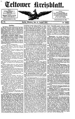 Teltower Kreisblatt vom 21.08.1888