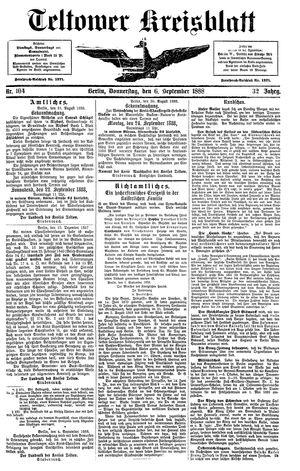 Teltower Kreisblatt vom 06.09.1888