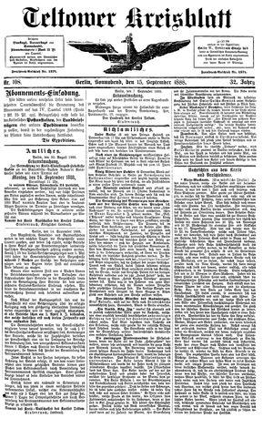 Teltower Kreisblatt vom 15.09.1888