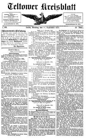 Teltower Kreisblatt vom 18.09.1888