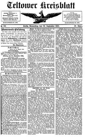 Teltower Kreisblatt vom 20.09.1888