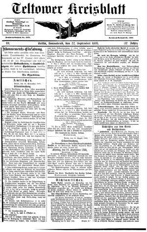 Teltower Kreisblatt vom 22.09.1888