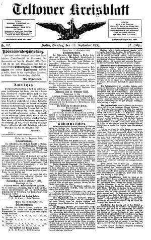 Teltower Kreisblatt vom 25.09.1888