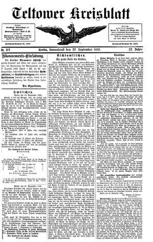 Teltower Kreisblatt vom 29.09.1888