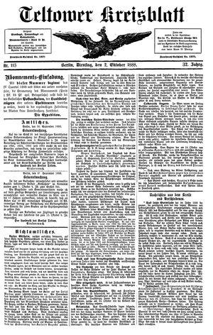 Teltower Kreisblatt vom 02.10.1888