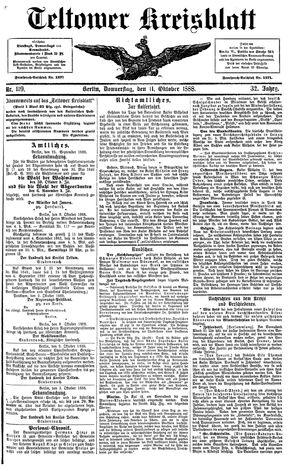 Teltower Kreisblatt vom 11.10.1888