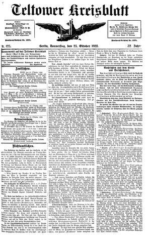 Teltower Kreisblatt vom 25.10.1888