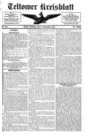 Teltower Kreisblatt vom 06.11.1888