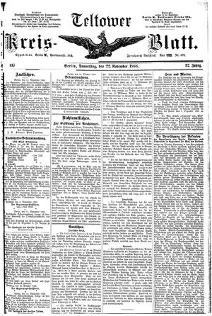 Teltower Kreisblatt vom 22.11.1888