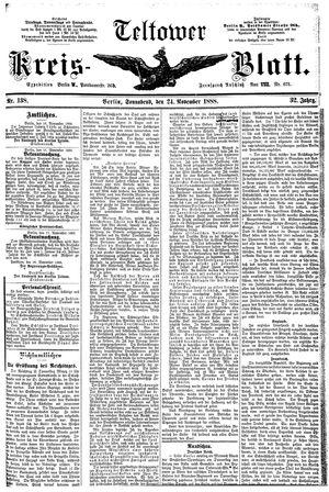Teltower Kreisblatt vom 24.11.1888
