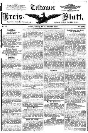 Teltower Kreisblatt vom 27.11.1888