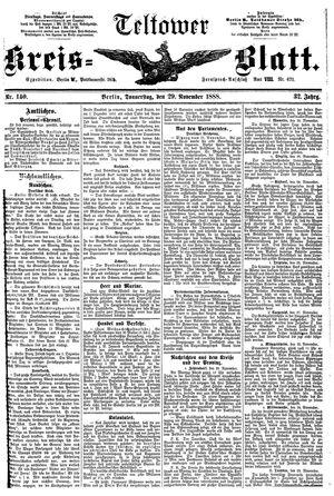 Teltower Kreisblatt vom 29.11.1888