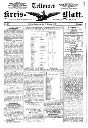 Teltower Kreisblatt vom 07.02.1889