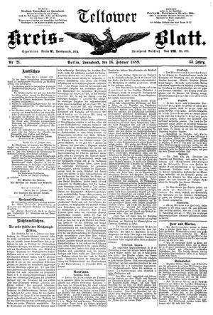 Teltower Kreisblatt vom 16.02.1889