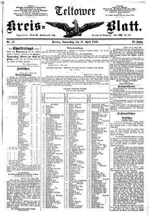 Teltower Kreisblatt vom 18.04.1889