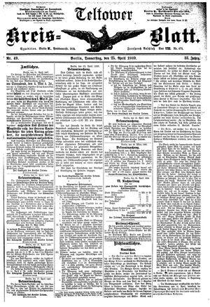 Teltower Kreisblatt vom 25.04.1889