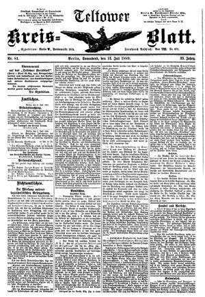 Teltower Kreisblatt vom 13.07.1889