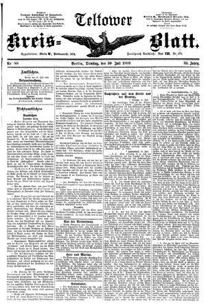 Teltower Kreisblatt vom 30.07.1889